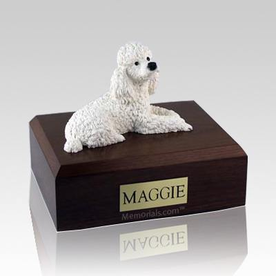 Poodle White X Large Dog Urn