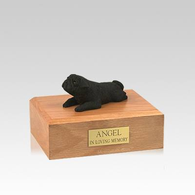 Pug Black Lounging Small Dog Urn