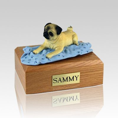 Pug Fawn with Blanket Large Dog Urn