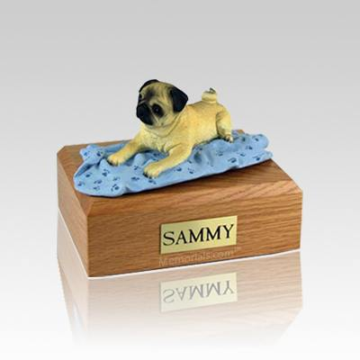 Pug Fawn with Blanket Small Dog Urn