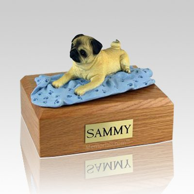 Pug Fawn with Blanket X Large Dog Urn