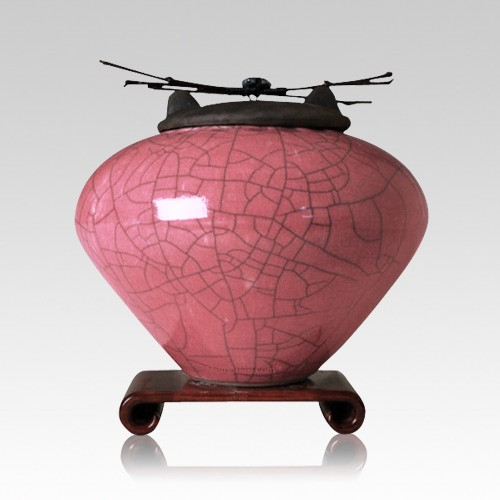 Raku Rose Large Cremation Urn