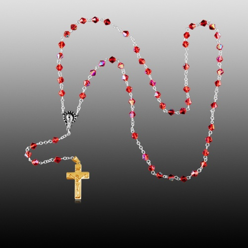 Red Crystal Gold Cremation Rosary
