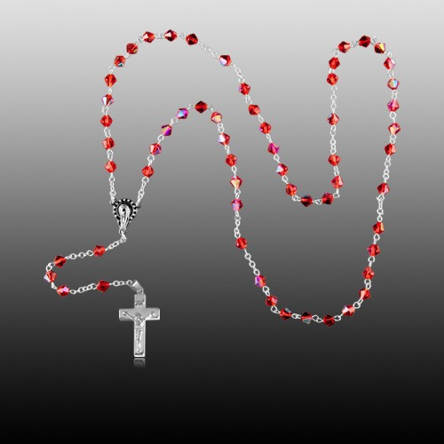 Red Crystal Silver Cremation Rosary