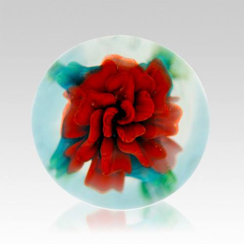Red Rose Ash Glass Weight