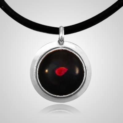 Red Spot of Color Silver Cremation Ash Pendant