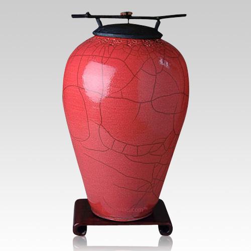Raku Tall Red Companion Cremation Urn