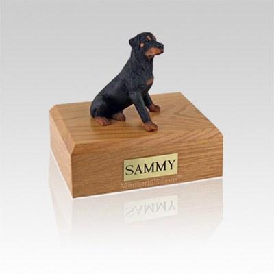 Rottweiler Sitting Small Dog Urn