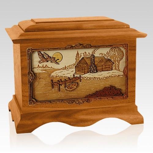 Rustic Paradise Mahogany Cremation Urn