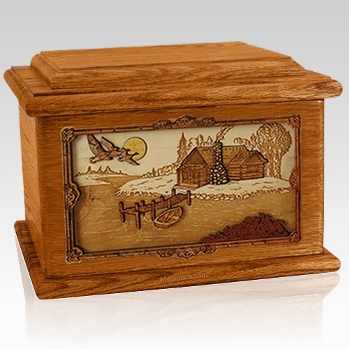 Rustic Paradise Mahogany Memory Chest Cremation Urn