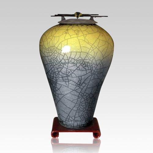 Raku Tall Sage Yellow Cremation Urn