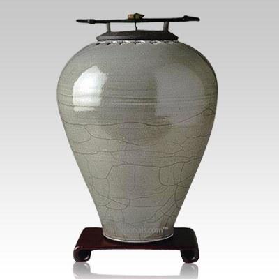 Raku Tall Sage Companion Cremation Urn