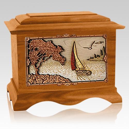 Sailboat Mahogany Cremation Urn