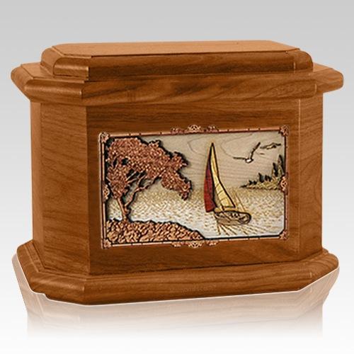 Sailboat Mahogany Octagon Cremation Urn