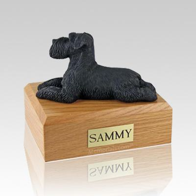 Schnauzer Black Ears Down Laying Large Dog Urn