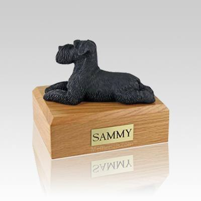 Schnauzer Black Ears Down Laying Small Dog Urn
