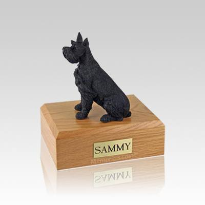 Schnauzer Black Ears Up Small Dog Urn