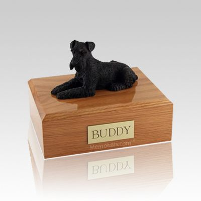 Schnauzer Black Laying Medium Dog Urn