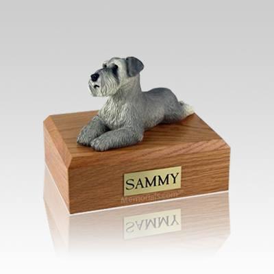 Schnauzer Gray Ears Down Laying Small Dog Urn