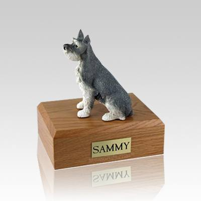 Schnauzer Gray Ears Up Medium Dog Urn