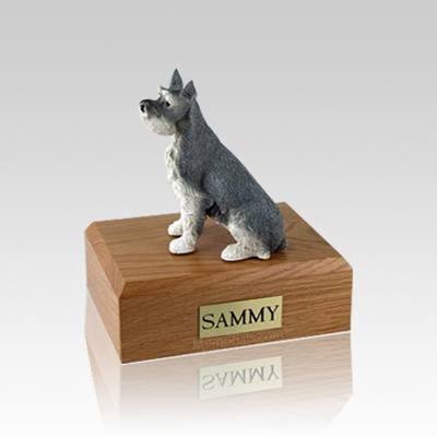 Schnauzer Gray Ears Up Small Dog Urn