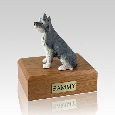 Schnauzer Gray Ears Up X Large Dog Urn