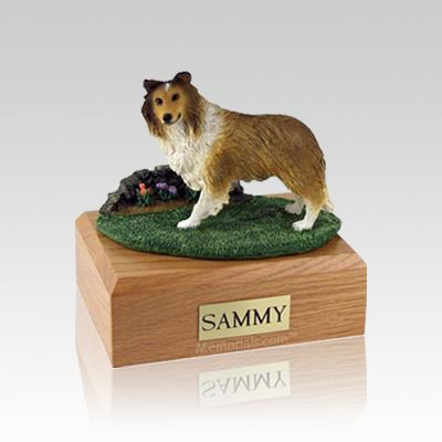 Sheltie Sable Standing Small Dog Urn