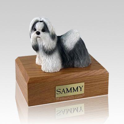 Shih Tzu Black & White Standing Large Dog Urn
