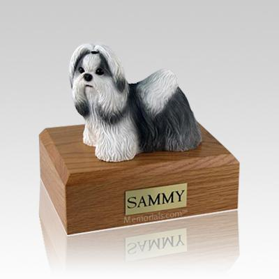 Shih Tzu Black & White Standing Medium Dog Urn