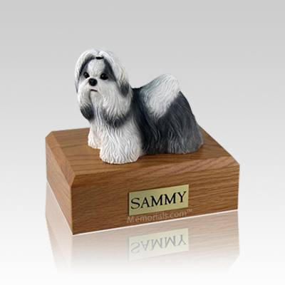 Shih Tzu Black & White Standing Small Dog Urn
