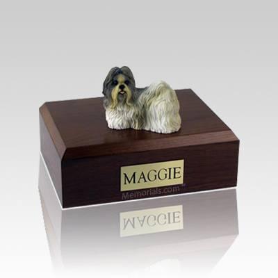 Shih Tzu White & Gray Medium Dog Urn