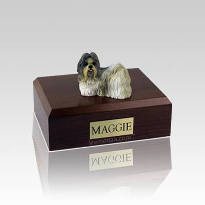 Shih Tzu White & Gray Small Dog Urn
