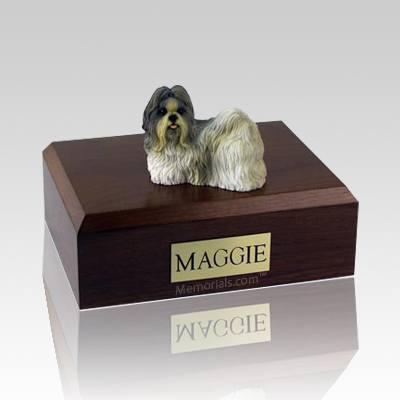 Shih Tzu White & Gray X Large Dog Urn