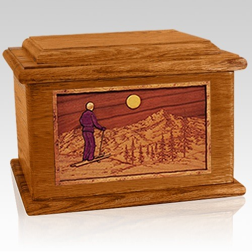 Skiing Mahogany Memory Chest Cremation Urn