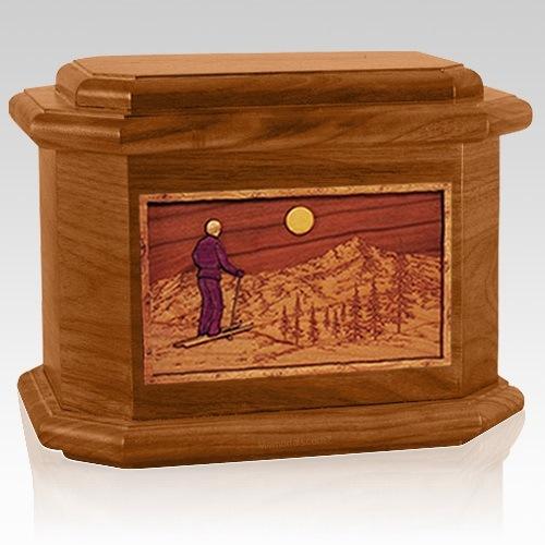 Skiing Mahogany Octagon Cremation Urn