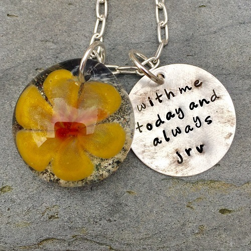Sun Lily Cremation Ash Pendant
