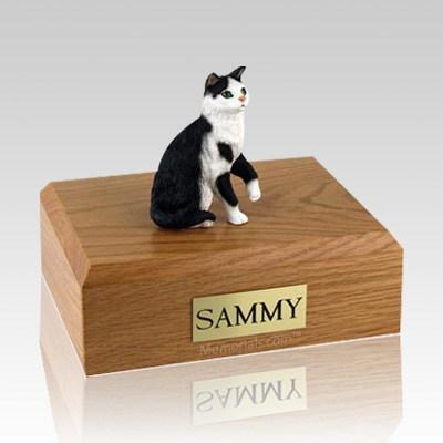 Tabby Black White Sitting Large Cat Cremation Urn