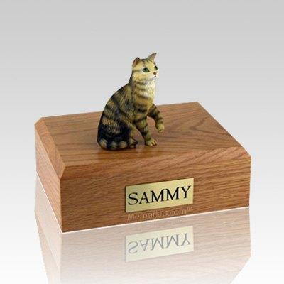 Tabby Brown Sitting Medium Cat Cremation Urn
