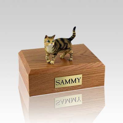Tabby Brown Standing Small Cat Cremation Urn