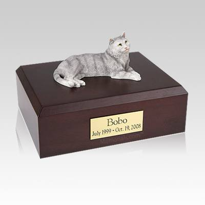 Tabby Gray Large Cat Cremation Urn