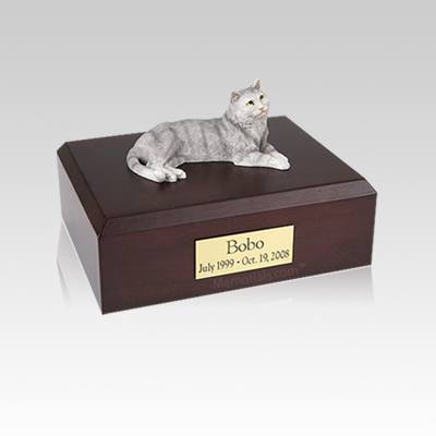 Tabby Gray Cat Small Cremation Urn