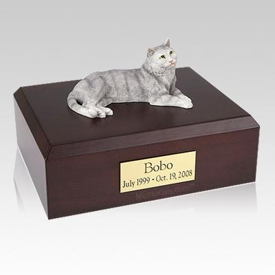 Tabby Gray Cat Cremation Urns