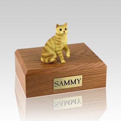 Tabby Red Sitting Medium Cat Cremation Urn