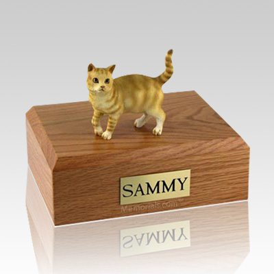 Tabby Red Standing Large Cat Cremation Urn