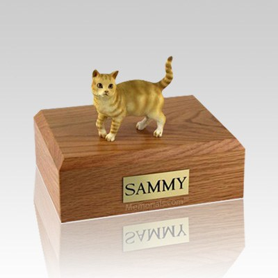 Tabby Red Standing Medium Cat Cremation Urn