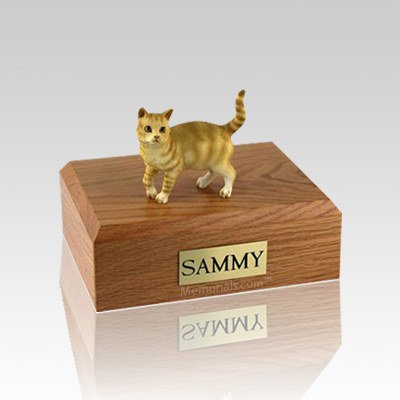 Tabby Red Standing Small Cat Cremation Urn
