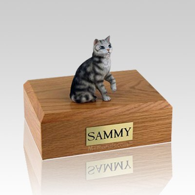 Tabby Silver Sitting Medium Cat Cremation Urn