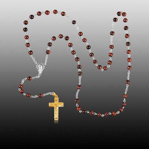 Tiger Eye Gold Cremation Rosary