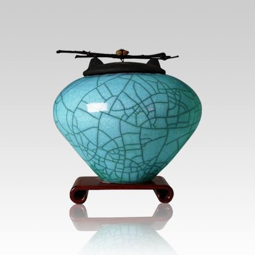Raku Turquoise Blue Small Cremation Urn