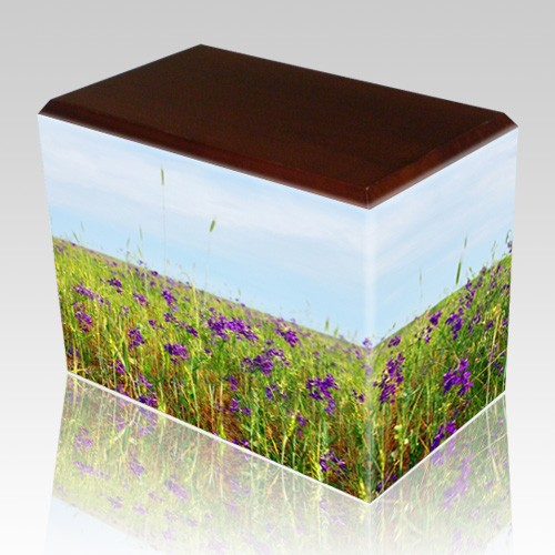 Field of Violets Walnut Child Cremation Urn II